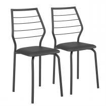 Cadeiras 2 Peças Tecil Fantasia Preto 1716 Móveis Carraro - Móveis Carraro
