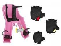 Cadeirinha Infantil Kalf Baby Bike Rosa com luva de ciclismo Rad7 -