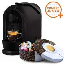 Cafeteira Expresso Três Corações Mimo Preta 110v + Lata Café Fácil com 36 Cápsulas Três Corações -