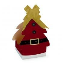 Caixa Árvore Natal Tradição Natal 14x14x27cm - Cromus -