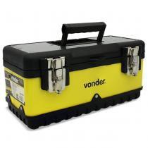 Caixa de Ferramentas Metálica e Plástica Vonder CMV 0380 8KG Preto e Amarelo Com Bandeja e Alça - Vonder