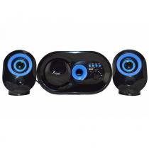 Caixa de som bluetooth 16w 2.1 subwoofer usb fm pendrive kp 6013 preto azul - Knup