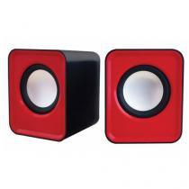 Caixa De Som Cube Sp103 5w Usb Cabo 1m Vermelho - Newlink