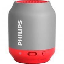 Caixa de Som Philips BT50GX/78 Cinza e Vermelho com Bateria Recarregável Bluetooth de 2W -