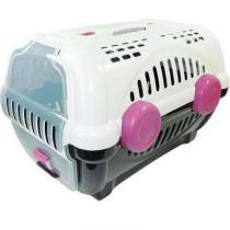 Caixa de Transporte Furacão Pet Luxo Branco e Rosa -
