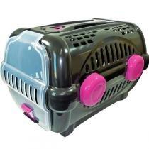 Caixa de Transporte Furacão Pet Luxo - Preto com Rosa -