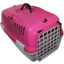 Caixa de Transporte para cães e gatos - Italiana - Tam 1 - Rosa e Cinza - American Pets