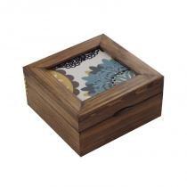 Caixa para chá mandalas azul e mostarda - Azul - Brindes da terra