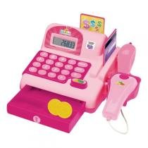 Caixa Registradora Calculadora Infantil Som e Luzes Rosa (DMT5112 ) - Dm toys