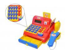 Caixa Registradora Infantil Calculadora Vermelho Som e Luzes (DMT5112) - Dm toys