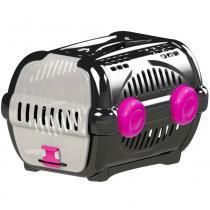 Caixa transporte luxo n.2 furacão pet  black / rosa -