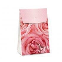 Caixa Trapezio P/Presente Floral Rosa M 19X9,5X29 - Cromus