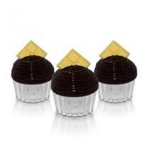 Caixinha de Acrílico Cupcake Box Chocolate 12 unidades - Festabox