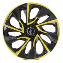 Calota universal modelo ds4 aro 14 black/yellow cup parafuso - Elitte