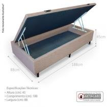 Cama Box Baú Solteiro 88x188x45 - Sued Bege - Celiflex