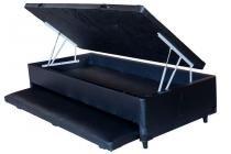 Cama Box Baú Solteiro Preto Com Auxiliar 0,88 x 1,88 - Brasil varejos