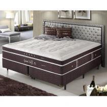 Cama Box King Size Dupla Molas Ensacadas High e Low Grand Luxe - Espuma Látex - Firmeza - 193x203x73 - Palemax