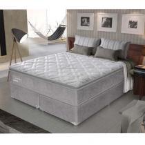 Cama Box  King Size Primeline Latex Molas  Ensacadas - Macio - Gazin - 193x203x72 - Cinza - Gazin