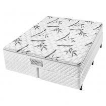 Cama box para casal tamanho queen com colchão de molas ensacadas americanflex bio bambu 193 x 203 x 63 cm -