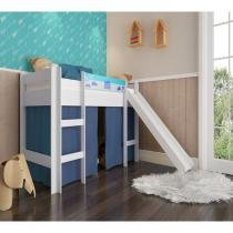 c3eb3cc31d Cama Infantil Branco Azul Elevada com Escorregador Completa Móveis -
