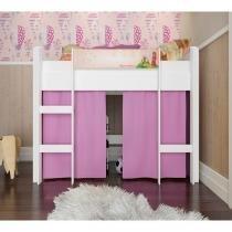 f59279d8b7 Cama Infantil Branco Rosa Elevada Completa Móveis -