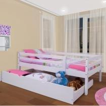 Cama Infantil c/ Grade de Proteção e Gavetão ou Cama Auxiliar - Meninas - Casatema -