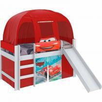 Cama Infantil Carros Play com Escorregador e Barraca - Pura Magia - Vermelho - Moveis Estrela