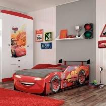 Cama Infantil com Auxiliar Carros Disney Fun Pura Magia Vermelho - Pura Magia