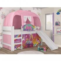 Cama Infantil com Escorregador e Barraca Barbie Dreamtopia Play Pura Magia Branco -