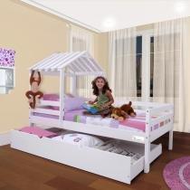 Cama Infantil com Telhado, Grade de Proteção e Gavetão ou Cama Auxiliar   Meninas  Casatema - CasaTema
