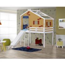 Cama Infantil Prime com Escorregador e Telhado Tijolinho Amarelo - Casatema -