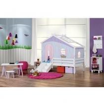 Cama infantil prime com telhado v, tenda tijolinho azul e kit escada/escorregador - casatema -
