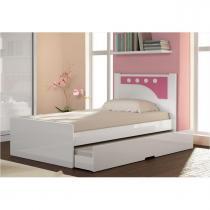 Cama Infanto Juvenil Bibox Bolinha Branco com Aplique Reversível Azul ou Pink - Gelius -