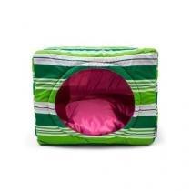 Cama Pet para Cachorro e Gato Senhor Bicho Cubo - Tamanho G - Listra Verde Pink -