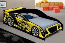 Cama solteiro carro speedy amarelo - ja móveis - J  a móveis