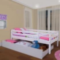 Cama Solteiro Infantil c/ Grade de Proteção Madeira Maciça - Meninas - Casatema - CasaTema