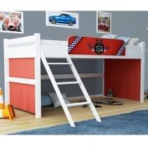 Cama Toy Club Branco com Vermelho com Escorrega - Gelius Móveis - Branca - Gelius