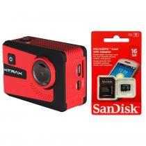 """Câmera de Ação Xtrax Smart 4K 16MP, LCD 2.0"""" e Wi-Fi + Cartão De Memória Sandisk Micro SD 16 GB + Adaptador -"""