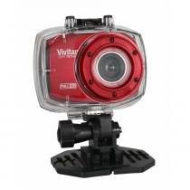 Câmera Filmadora de Ação Vivitar Vermelha, com Caixa Estanque e Acessórios - DVR787HD -
