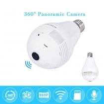 Camera Lampada Led Wifi Ip Hd Panoramica Unica 360 Espiao - Importado