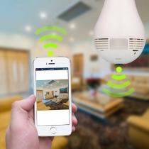 Câmera Lampada Wifi IP Led HD Panorâmica 360º Espião Celular. - Hb tech