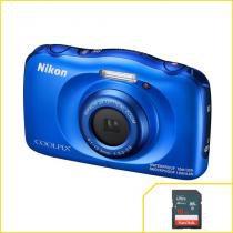 Câmera Nikon à prova dágua Wifi Coolpix W100 Azul -