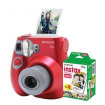 Câmera Polaroid instantânea PIC 300 Vermelha c/ filme 20 poses -