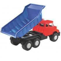 Caminhão Big Líder Basculante Azul com Acessórios 2337 - Lider - Lider Brinquedos