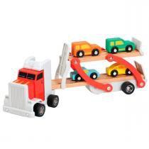 Caminhão cegonheira de madeira + 4 carrinhos - estrela baby -