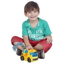 Caminhão Escavadeira Homeplay ConsTruck Luzes e Fricção Amarelo 6548 - Homeplay