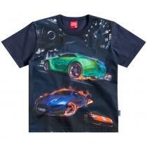 Camisa Masculina Carros Corrida Preto - Kyly -