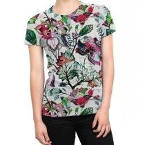 4f9081b57a Camiseta Baby Look Feminina Floral Jardim Russo Total Print - Over fame