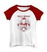 Camiseta Feminina  Guerra Civil Time Stark - Tam G - Studio Geek