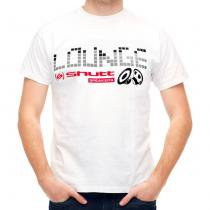 Camiseta Shutt Lounge Casual Branca Estampa Preta Cinza Vermelha - Tamanho M - Shutt